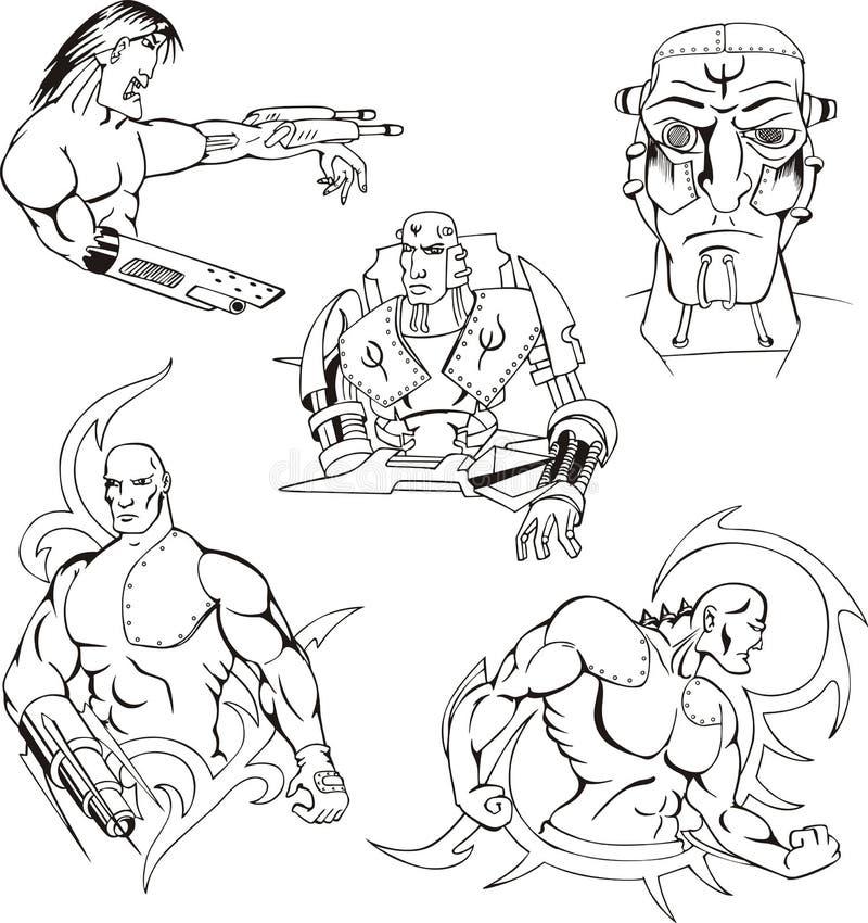 Cyborgs e robôs ajustados ilustração royalty free