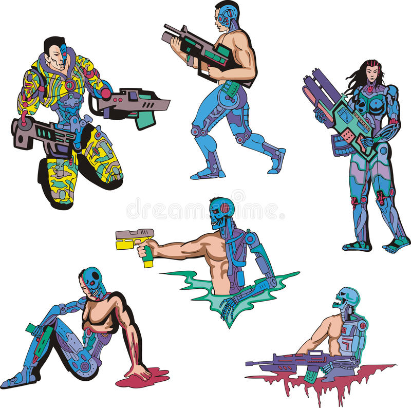 Cyborgs vector illustration