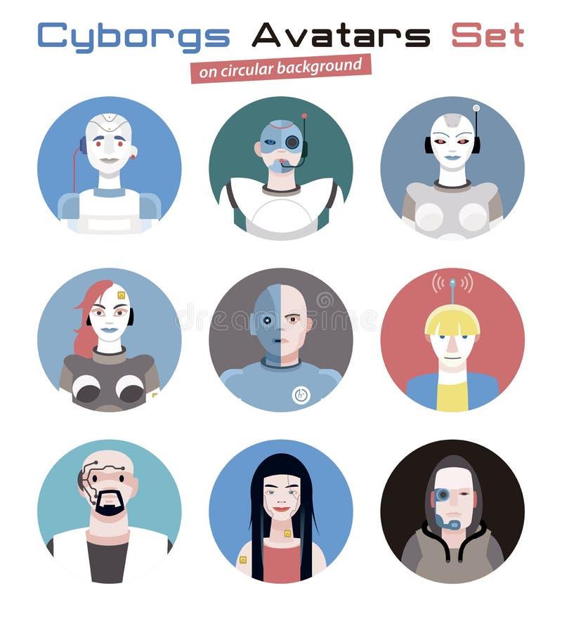 Cyborgsavatars Geplaatst Cirkel royalty-vrije illustratie