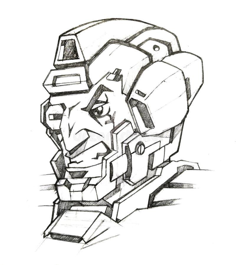 Cyborgsoldatframsida stock illustrationer