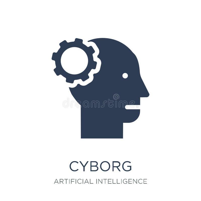 Cyborgsymbol Moderiktig plan vektorCyborgsymbol på vit bakgrund stock illustrationer