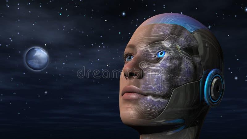 Cyborgvrouw - Humanoid vector illustratie