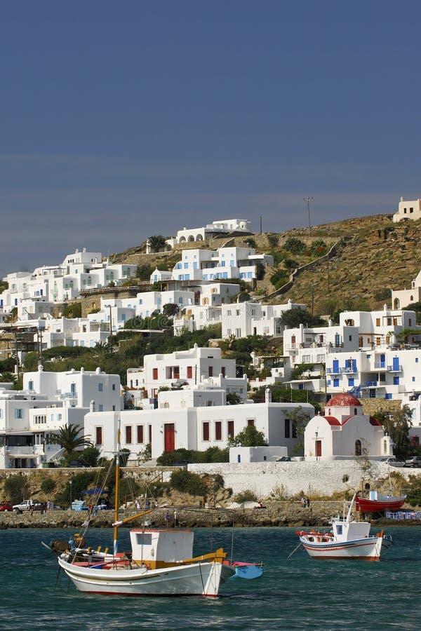 cyclades希腊港口mykonos 库存照片