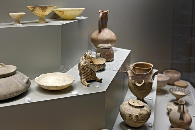 Cycladic pottery in museum of archaeology, Athens, Greece royalty free stock images