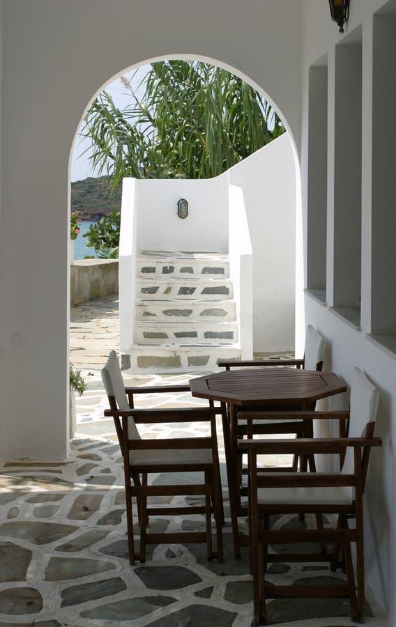 Cycladic terrace stock photo