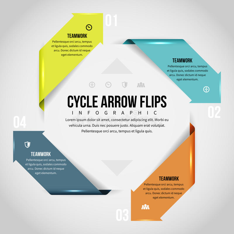 Cycle Arrow Flips Infographic. Vector illustration of cycle arrow flips infographic design element royalty free illustration