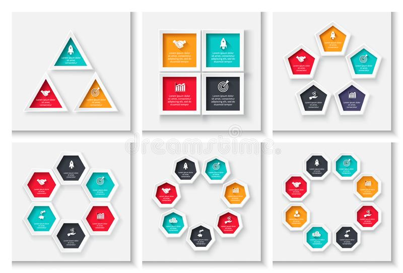 Cycle business graphic elements. Business process infographics with 3, 4, 5, 6, 7 and 8 steps. Geometric presentation stock illustration
