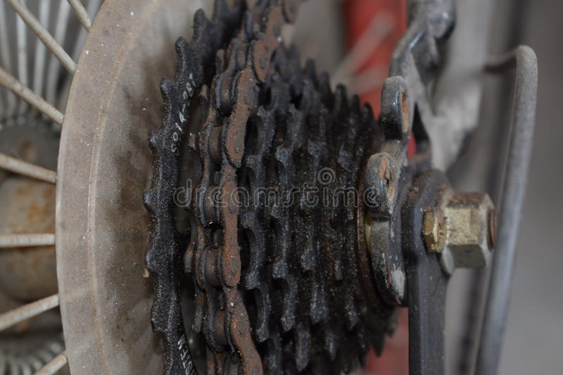 Cycle cassette and chain. Side view of cycle chain and cassette stock photos