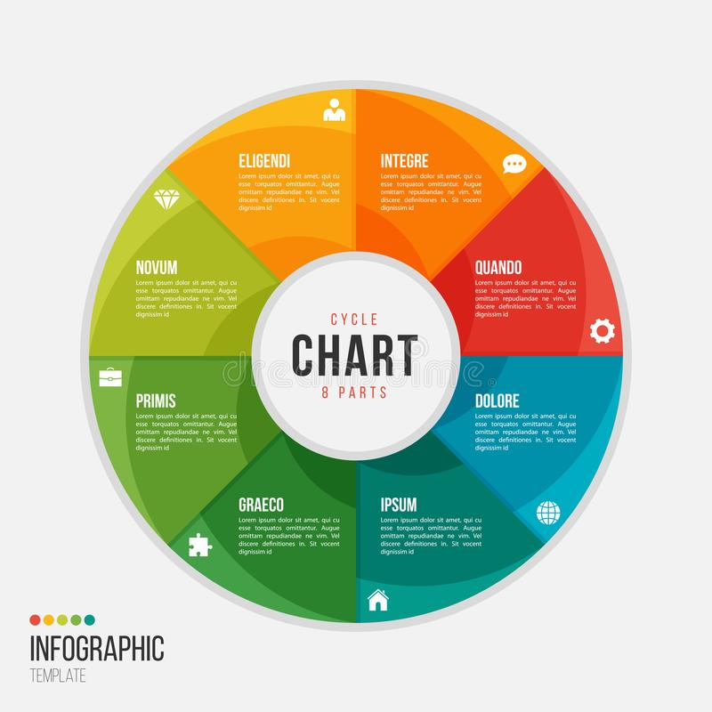 Cycle chart infographic template with 8 parts, options, steps stock illustration