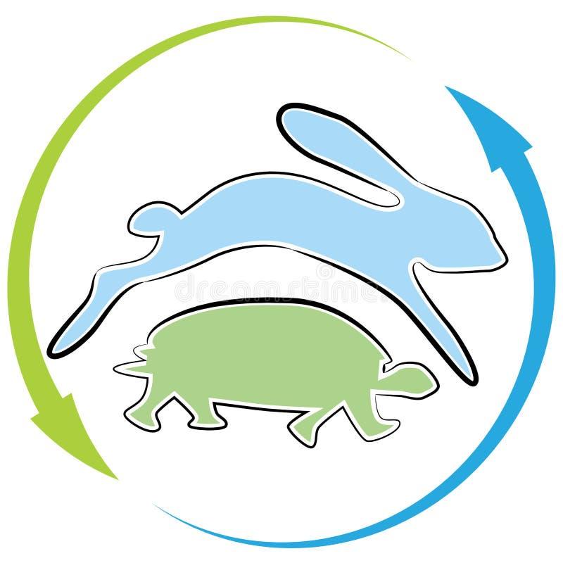 Cycle de course de lièvres de tortue illustration de vecteur