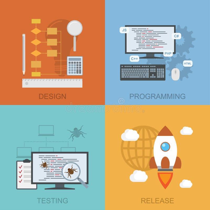 Cycle de vie de logiciel illustration stock