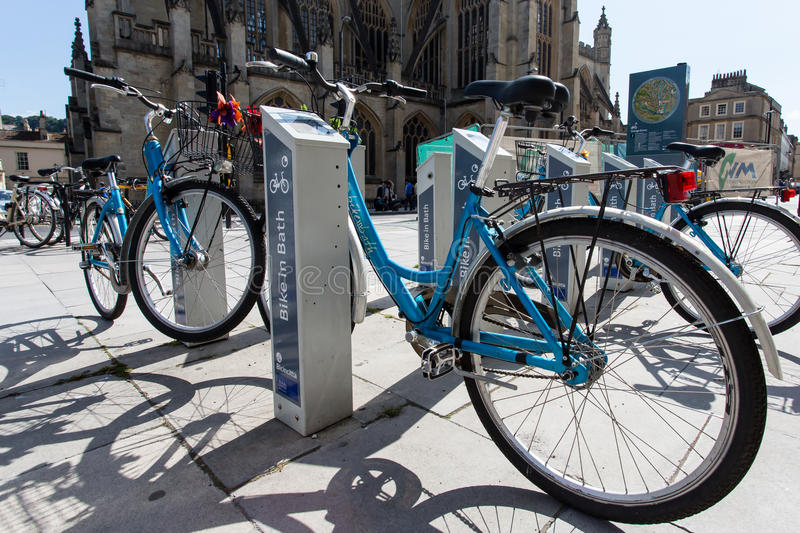Cycle Hire. Cycles for hire in the historic City of Bath, England stock photo