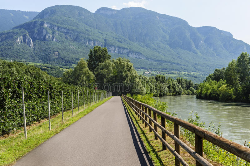 Cycle Lane Of The Adige Valley Stock Photos