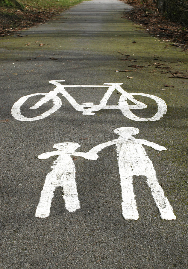 Cycle Lane Warning royalty free stock image
