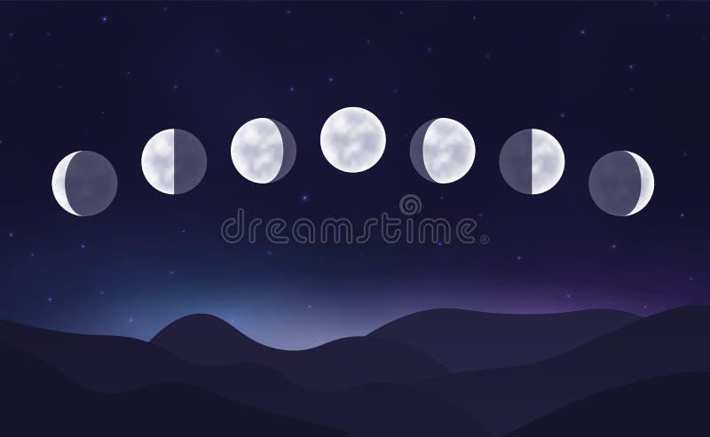Cycle lunaire dans le ciel nocturne illustration stock