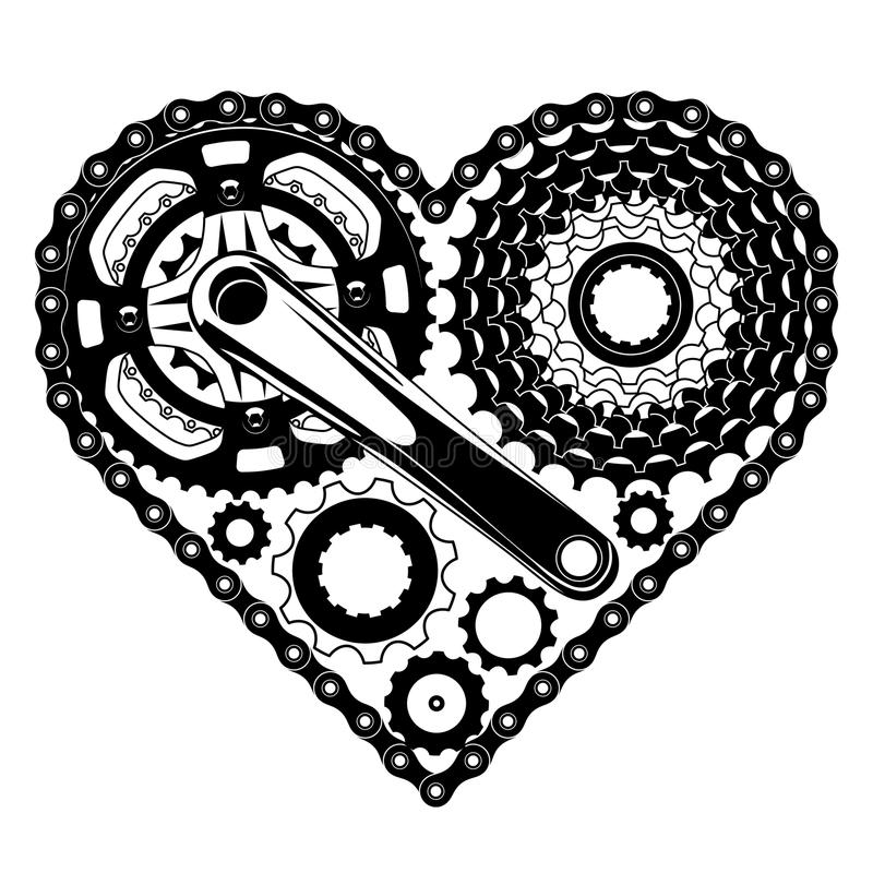 Cycle parts heart shape vector illustration