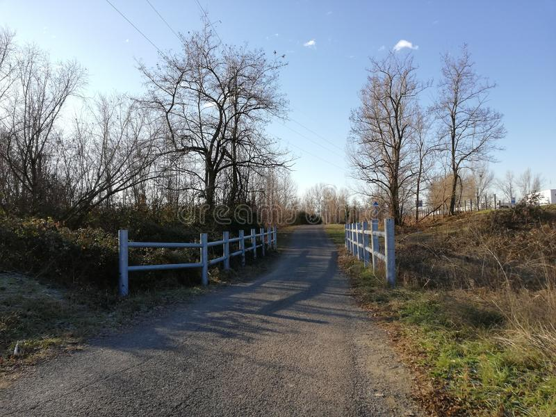 Footpath bridge and clear blue sky stock images