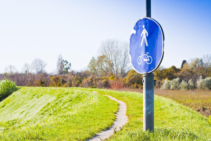 Cycle and pedestrian path in tuscany countryside Italy royalty free stock photography