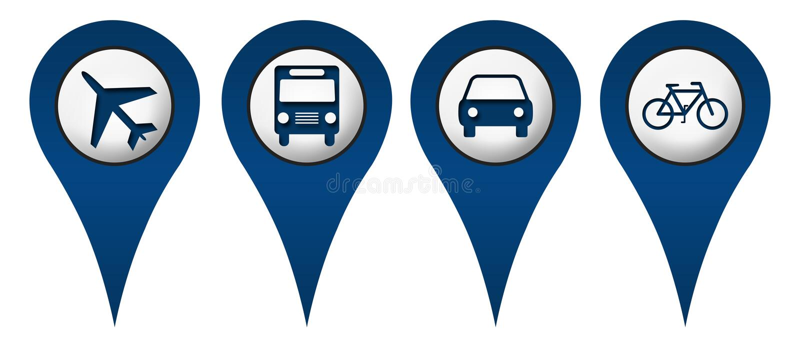 Download Cycle Plane Bus Car Location Icons Stock Illustration - Image: 36292225