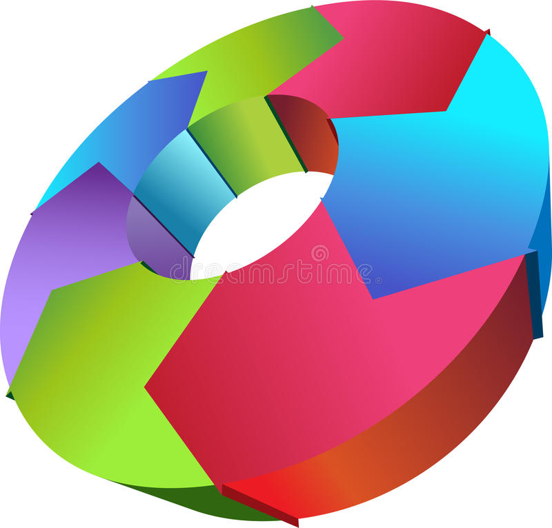 Cycle Process - Clockwise. 3D image of a cycle process for business stock illustration
