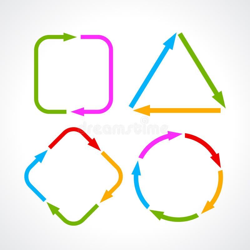 Cycle process diagram. Arrows set vector illustration