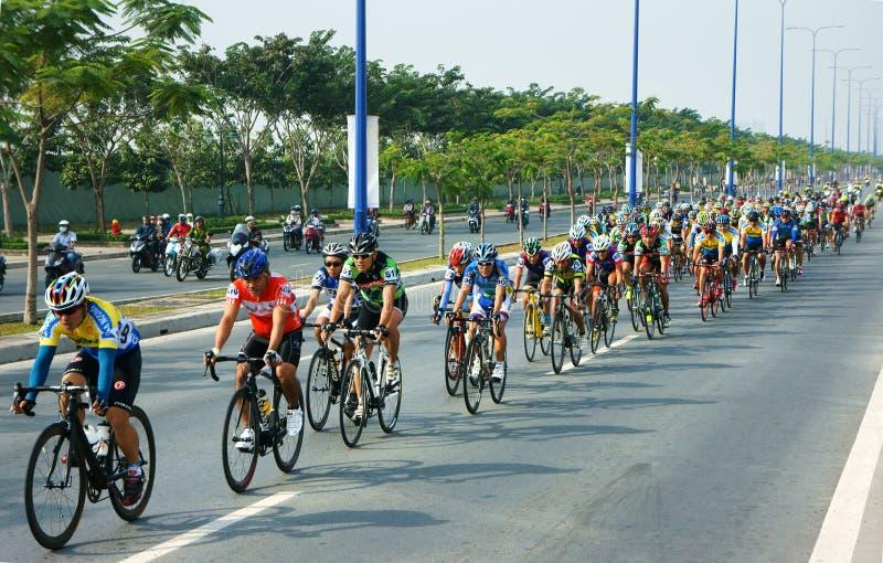 Cycle race, Asia sport activity, Vietnamese rider. HO CHI MINH CITY, VIET NAM- JAN2: Amazing cycle race, sport activity to happy new year at Asia, rider wear stock photos