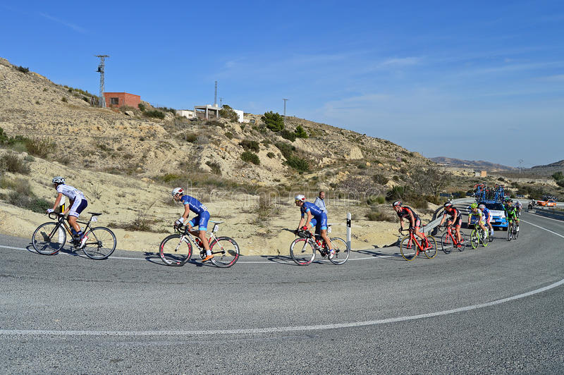 Cycle Race. The leading cyclists head up the mountain during stage 4 of the 2016 Vuelta de Valencia cycle race stock images