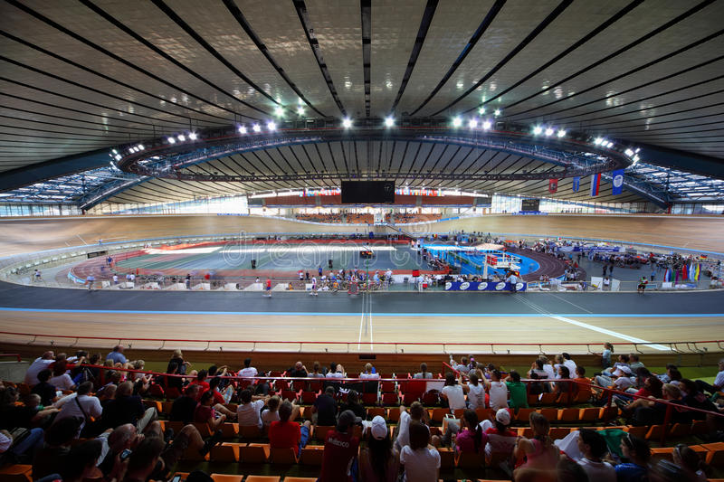 Cycle race track at stadium stock image