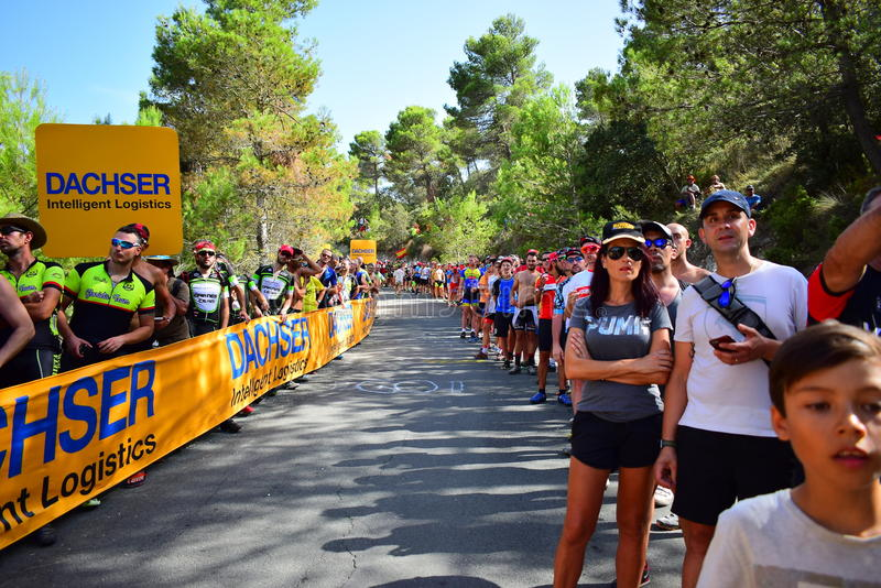 Cycle Racing Crowd La Vuelta España. Crowds line the mountain top finish in the 2017 La Vuelta espana bike race royalty free stock photography