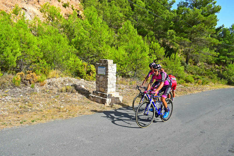 Cycle Racing The Summit Of Xorret De Cati. The riders on stage eight Xorret De Cati in the 2017 La Vuelta España bike tour royalty free stock photos