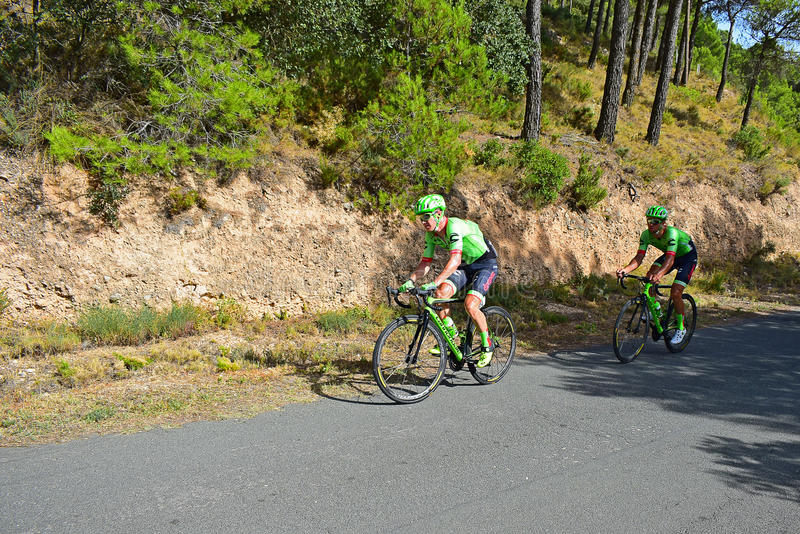 Cycle Racing team Cannondale Drapac. The team riders on stage eight Xorret De Cati in the 2017 La Vuelta Espana bike race royalty free stock photos