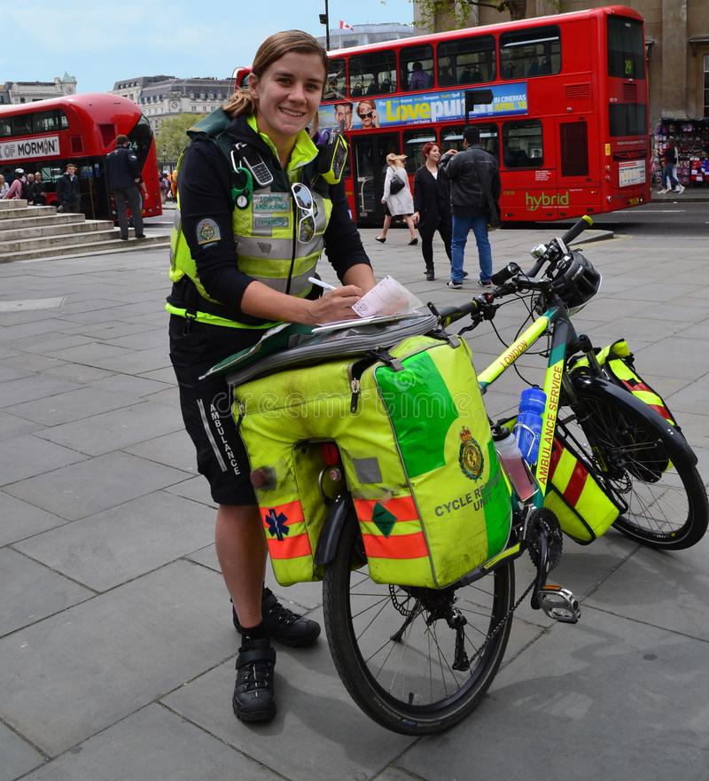 Emergency Cycle Responders London. A cycle responder is a medically trained responder, such as a paramedic or first aider that uses a bicycle to respond to a stock photo