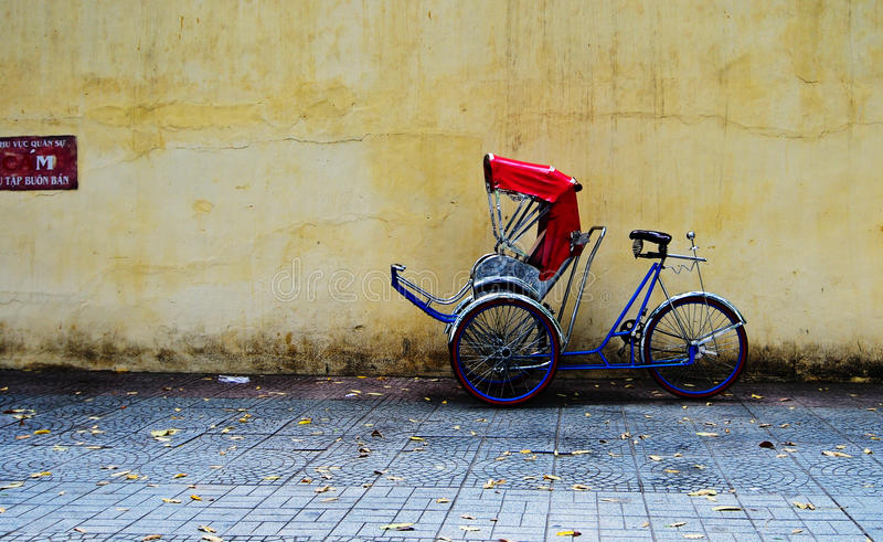Cycle rickshaw (cyclo) parking in Saigon royalty free stock photography
