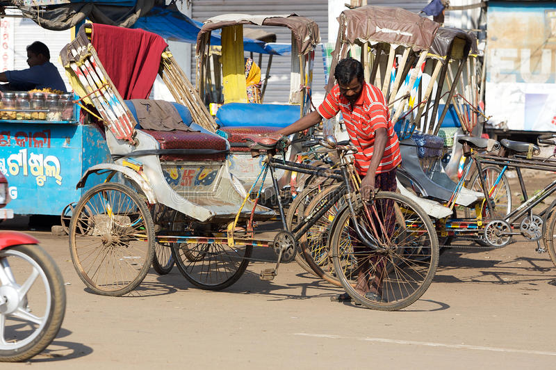 Download Cycle rickshaw in Puri editorial stock image. Image of asia - 20639179