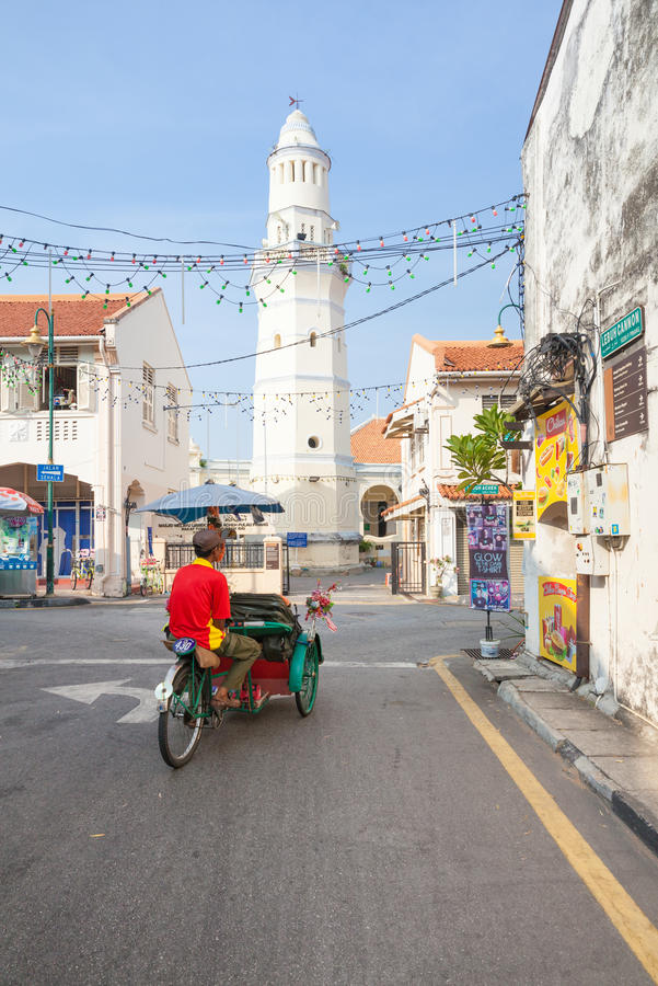 Download Cycle Rickshaw Is Riding Down The Street, Penang, Malaysia Editorial Photo - Image of jamek, george: 69131926