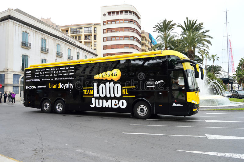 Cycle Road Race Lotto Jumbo Bus royalty free stock image