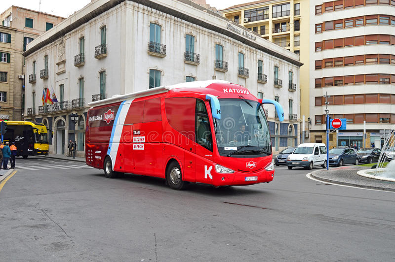 Cycle Road Race Team Katusha Bus royalty free stock photography