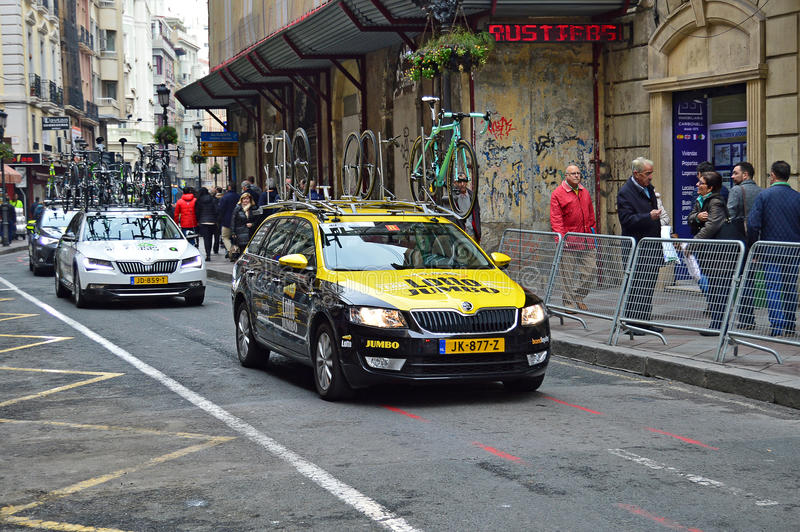 Cycle Road Racing Lotto Jumbo Team Car And Bikes stock photo