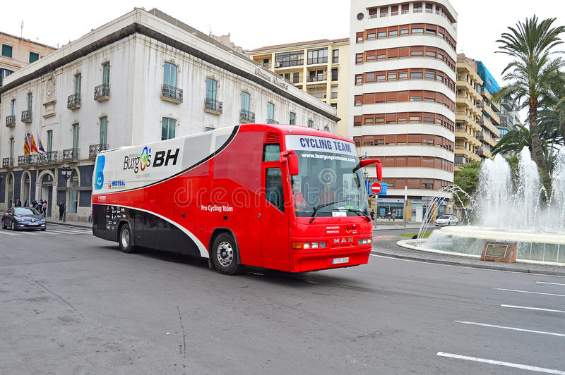Cycle Road Racing Team Burgos BH Team Bus stock image