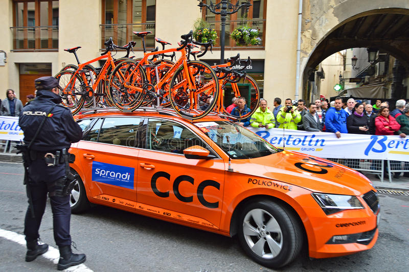 Cycle Road Racing Team Car CCC royalty free stock photo