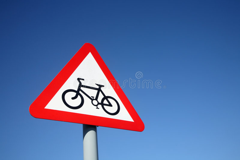 Cycle route ahead sign. stock images