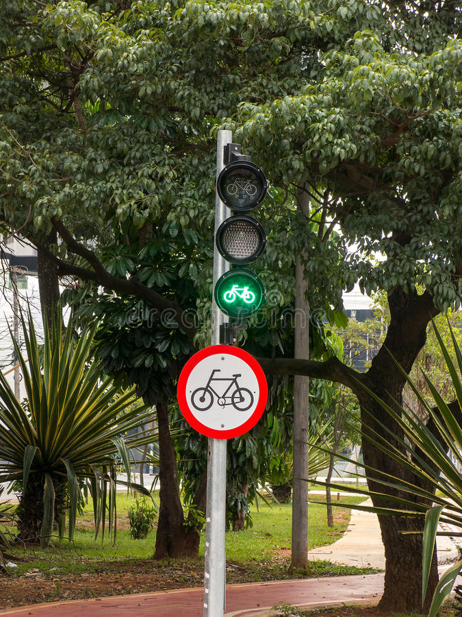Cycle route green traffic light. Signs royalty free stock images