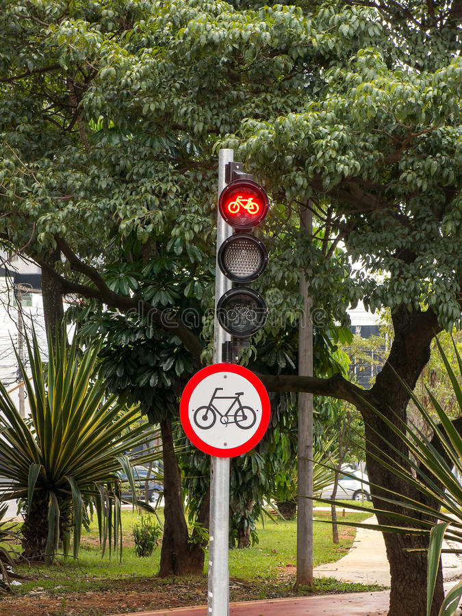 Cycle route red traffic light. Signs stock photo