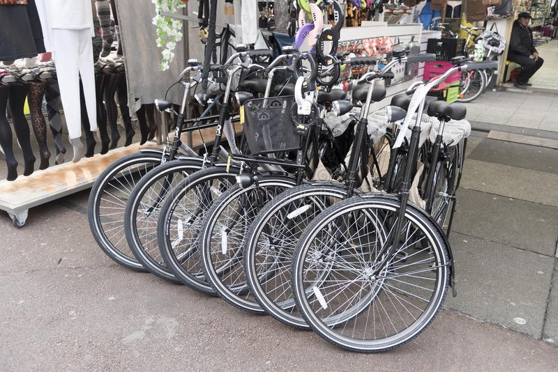 Cycle shop Albert Cuypstrat Amstedam. The Albert Cuyp Market is a street market in Amsterdam stock photography