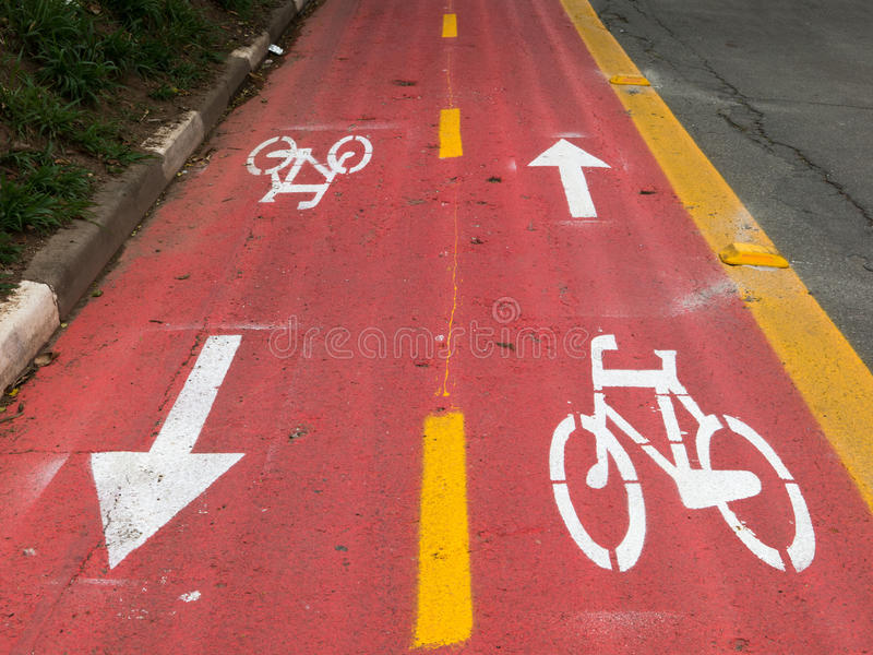 Cycle signs 2 ways. On street royalty free stock image