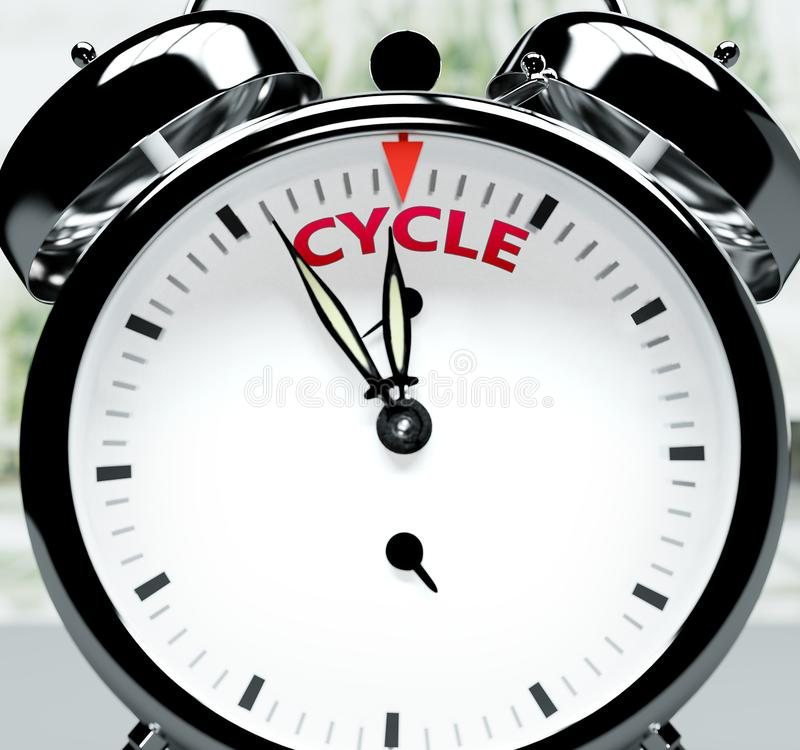 Free Cycle Soon, Almost There, In Short Time - A Clock Symbolizes A Reminder That Cycle Is Near, Will Happen And Finish Quickly In A Stock Photos - 164310023