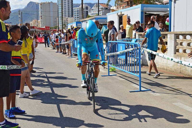 Cycle Time Trial Race. The Team Astana Rider slows down after crossing the finish line in the TT time trial stage of the 2016 La Vuelta España stock images