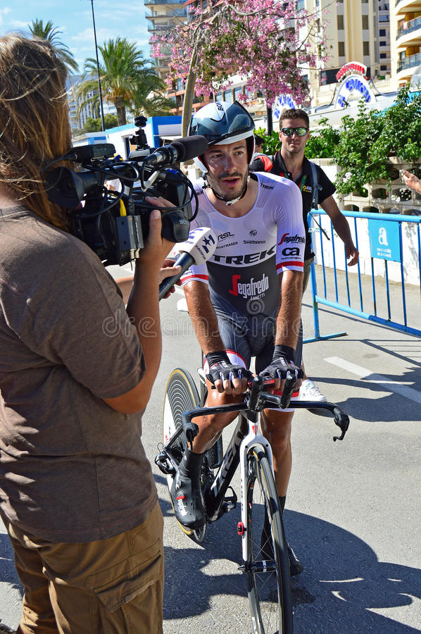 Cycle Time Trial Race. Team Trek rider Julian Bernard being interviewed by a TV crew after crossing the finish line in the TT time trial stage of the 2016 La stock photos