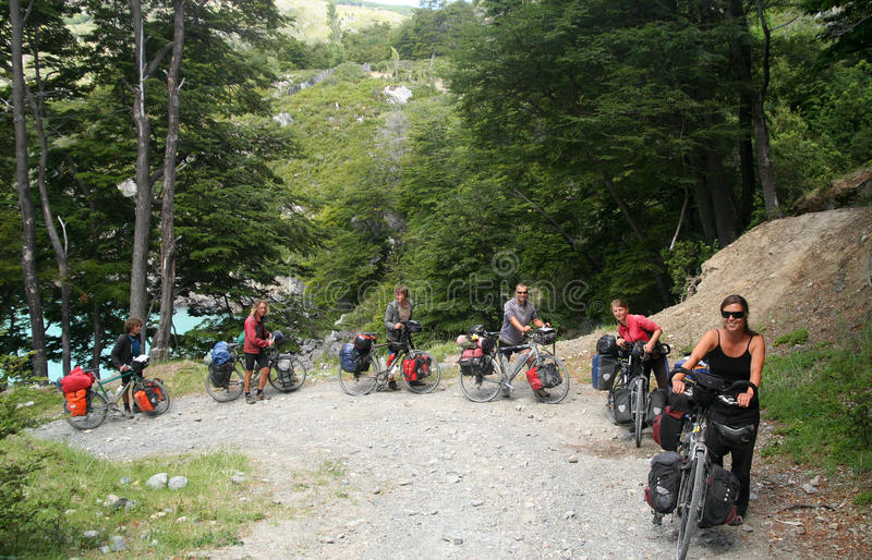 Cycle touring group royalty free stock photography