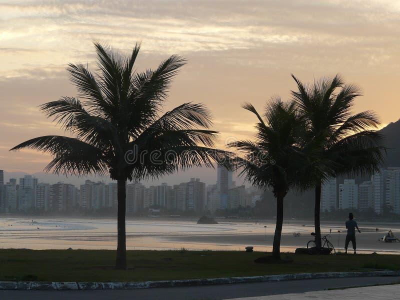 Cycler sur la plage appréciant la vue de coucher du soleil photographie stock libre de droits